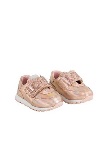Kids A More Rosa Taşlı Love Baskılı Tek Cırtlı Kız Ilk Adım Deri Ayakkabı  Pudra